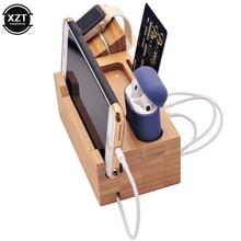 竹ベース3ポートusb充電apple腕時計airpods充電スタンドiphone 6 8 × ドッククレードルホルダー