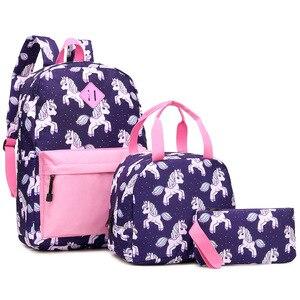 D7 dopasowane kolory jednorożec Cartoon trzyczęściowy szkół podstawowych i średnich tornister torba na Lunch torba na ołówek przypadku drukowania plecak
