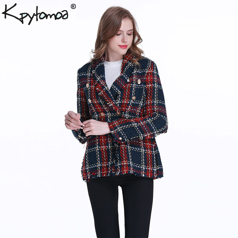 Image 2 - Vintage Double Breasted Frayed Checked Tweed Blazers Coat Women 2019 Fashion Pockets Plaid Ladies Outerwear Casual Casaco Femme-in Blazers from Women's Clothing
