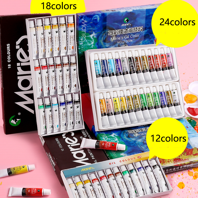 12 / 18 / 24 Colors 12ML Professional Tube Oil Paint Sets For Children Drawing Tools For Free Art Supply