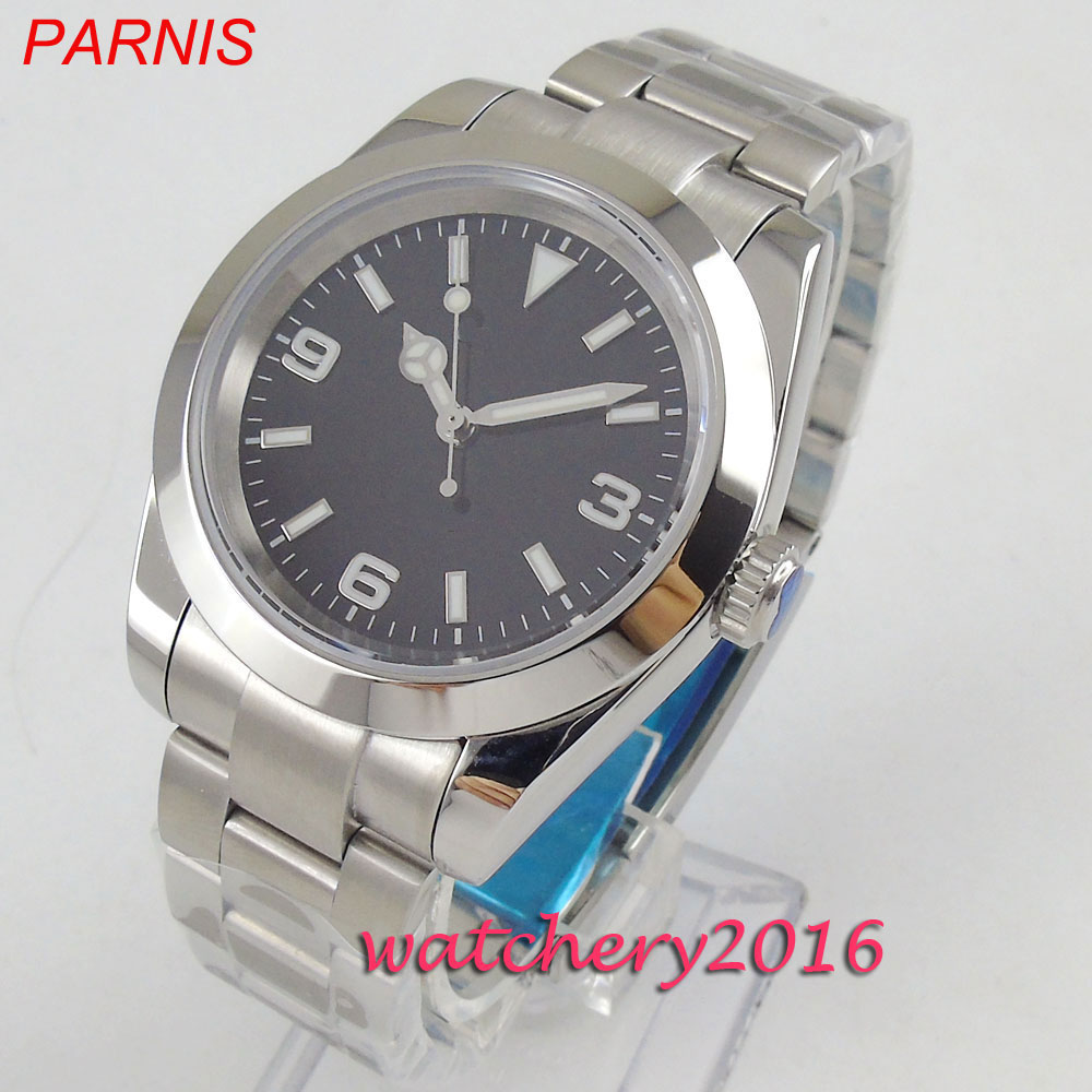 <font><b>Parnis</b></font> <font><b>40mm</b></font> black dial luminous hands full stainless steel automatic movement Men's <font><b>Watch</b></font> image