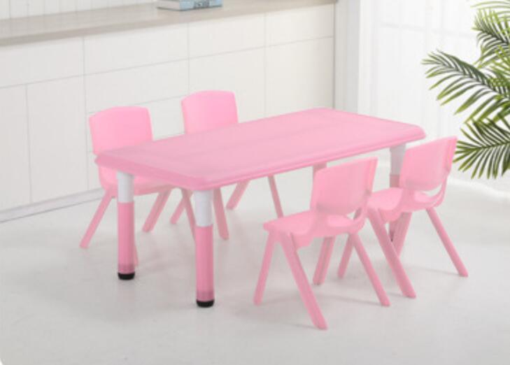120*60cm Adjustable Height 37-63cm Kindergarten Desk Children Table With 4 Pieces Chairs