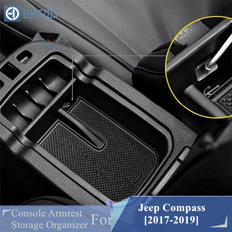 EDBETOS <font><b>Compass</b></font> Armrest Storage Box For <font><b>Jeep</b></font> <font><b>Compass</b></font> 2017 2018 <font><b>2019</b></font> Center Console Organizer Tray <font><b>Compass</b></font> Glove Box Coin Holder image