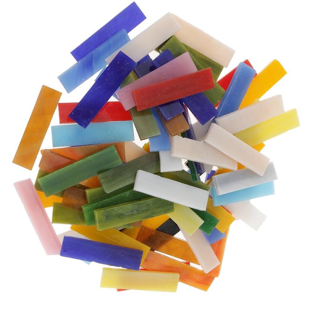 70 Pieces Rectangle Shape Assorted Colors Glass Pieces Mosaic
