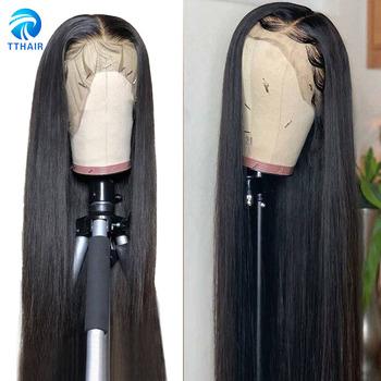 Peruki peruki z ludzkich włosów koronkowe peruki z ludzkich włosów 13 #215 4 koronkowe peruki z przodu zamknięcie koronki peruka 4 #215 4 prosto Remy włosy peruki peruwiański 150 tanie i dobre opinie TTHAIR Remy Ludzki Włos Proste CN (pochodzenie) Średnia wielkość Peruvian Human Hair wigs Color 27 Lace front human hair wig Lace closure wig human hair