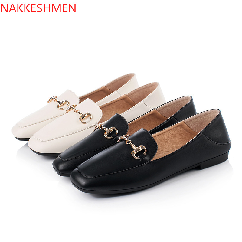 European And American British Single Shoes Women's Fashion Simple Thick Heels Thin Shallow Buckle Casual Shoes