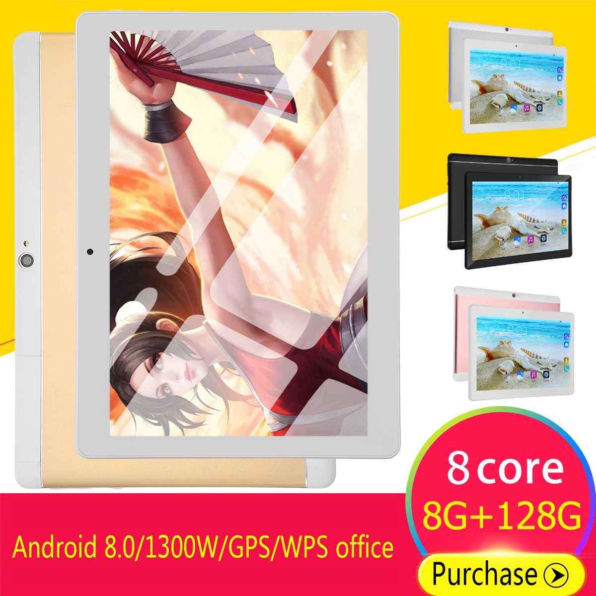 10 Inch HD Tablet PC 8+128GB 9000mAh Single Cameras/SIMs Octa Cores 3G Call Tab Android 8.0 Tab GPS WIFi Bluetooth 4.0 Pad