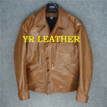 shipping.Wholesales.Brand YR!Free mens US classic biker genuine leather jacket.thick cowhide slim coat.quality vintage 1