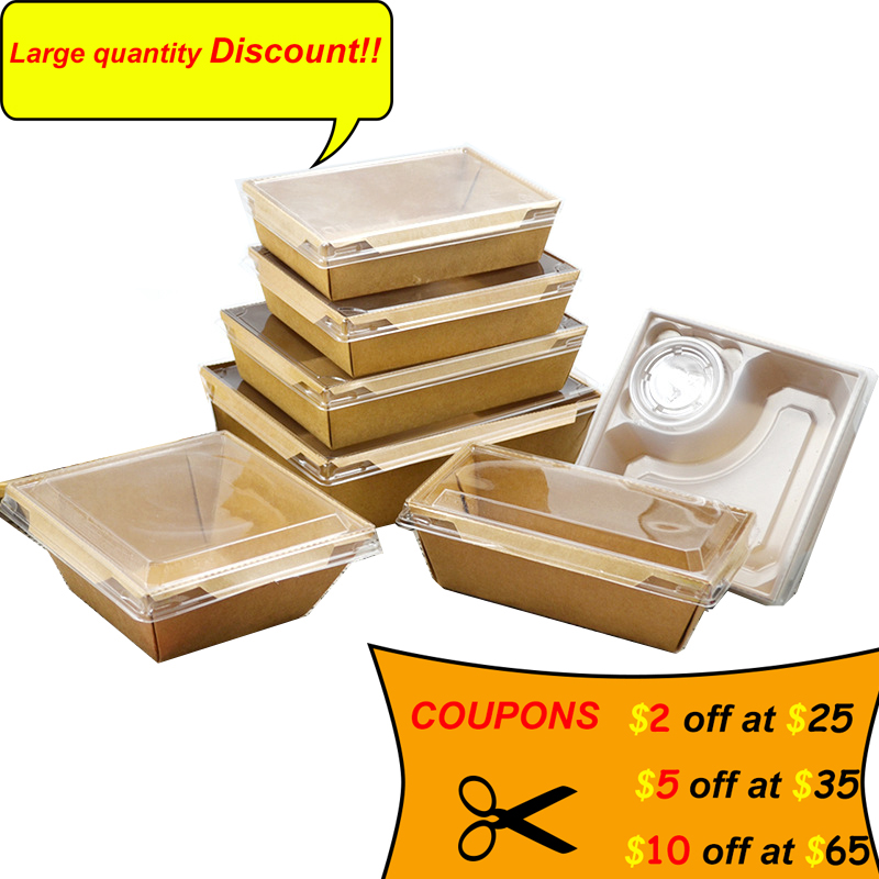 Disposable Tableware Kraft Paper Lunch Box With Transparent Lid Sushi Salad Cake Container(SIZE:750ML/1000ML/1600/2100ML).
