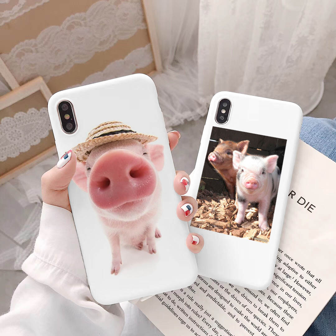 Cute Animals Cute Piglet Funny Cartoon Pig Print Pattern <font><b>Off</b></font> <font><b>White</b></font> Phone <font><b>Case</b></font> For <font><b>iPhone</b></font> X 8 7 6S Plus XS MAX XR Silicone Cover image