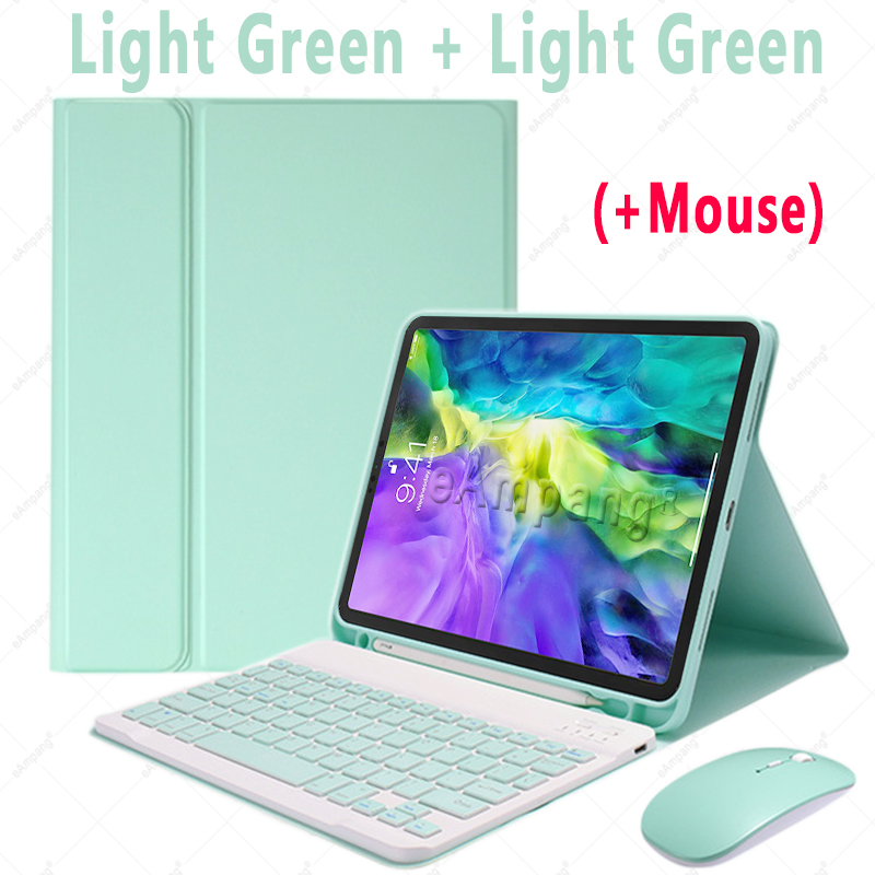 Green with Mouse Blue For iPad Air4 10 9 2020 A2324 A2072 Keyboard Mouse Case English Russian Spanish Korean Keyboard