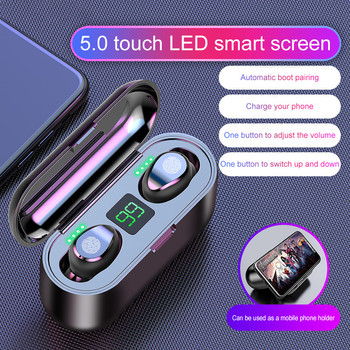 F9 TWS Wireless Earphone Bluetooth V5.0 Headphone Sports Headset LED Display With 2000mAh Power Bank Microphone