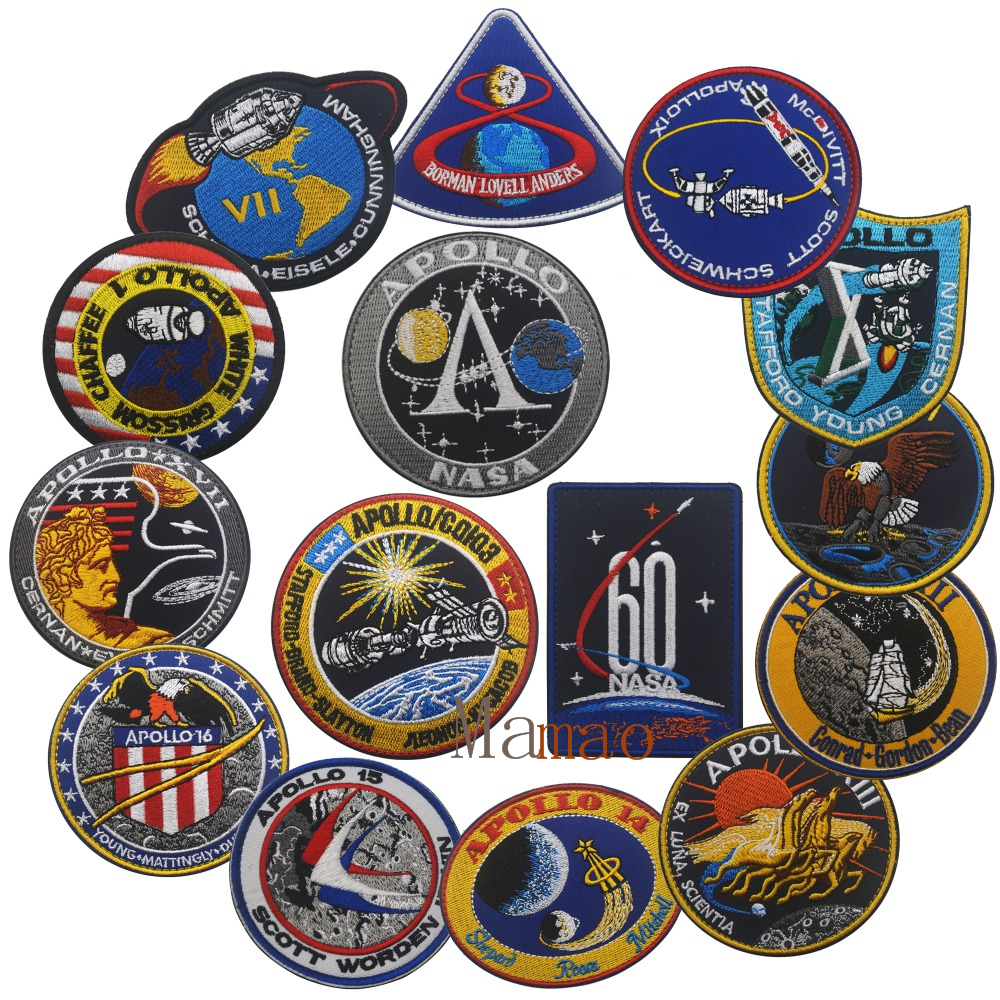 Embroidery Patches USA Tactical Morale Patch Outdoor Apollo Mission Armband Badge Stickers USA Patch Set 1 7 8 9 10 11 12 13 14