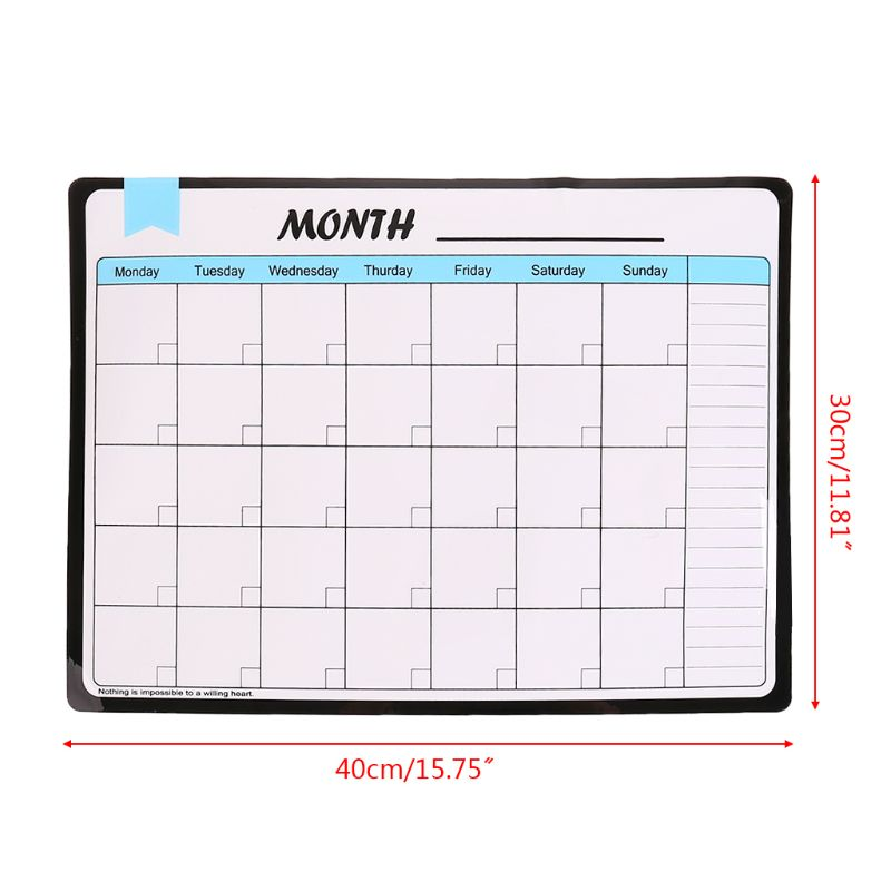 Monthly Planner Soft Magnetic Whiteboard Fridge Magnets Drawing Message Memo Pad R9UA