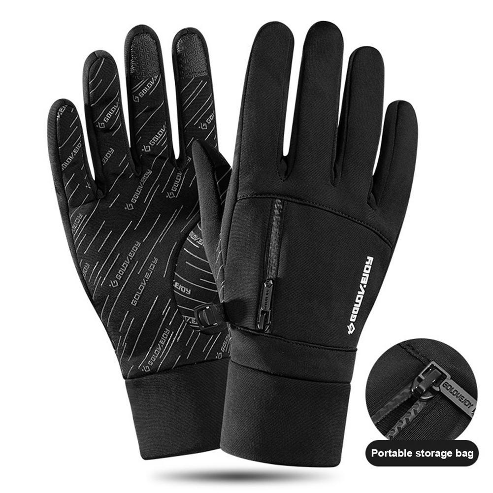Зимние велосипедные теплые перчатки, ветрозащитные водонепроницаемые противоскользящие рукавицы для верховой езды с сенсорным экраном дл...