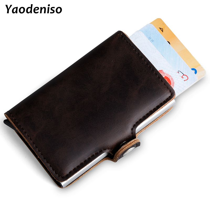 NEW Crazy Horse Leather Wallet Men Aluminum Wallet Pocket Card Holder RFID Blocking Mini Automatic Pop Up Credit Card Purse Gift