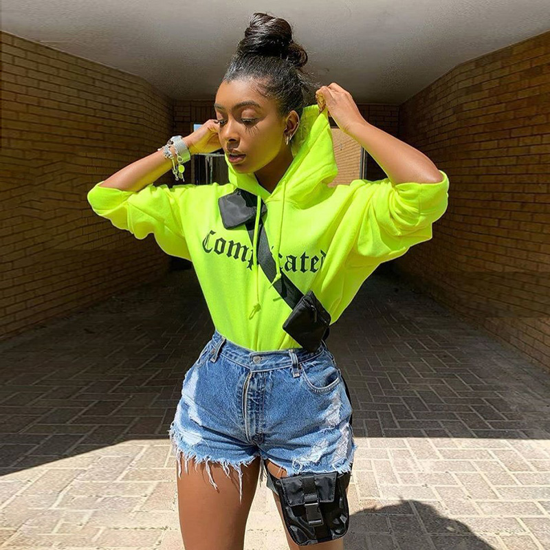 Sampic Women Pullovers Print Oversize Casual Neon Hoodies Sweatshirts Loose Long Sleeve Hoodies Autumn 2019