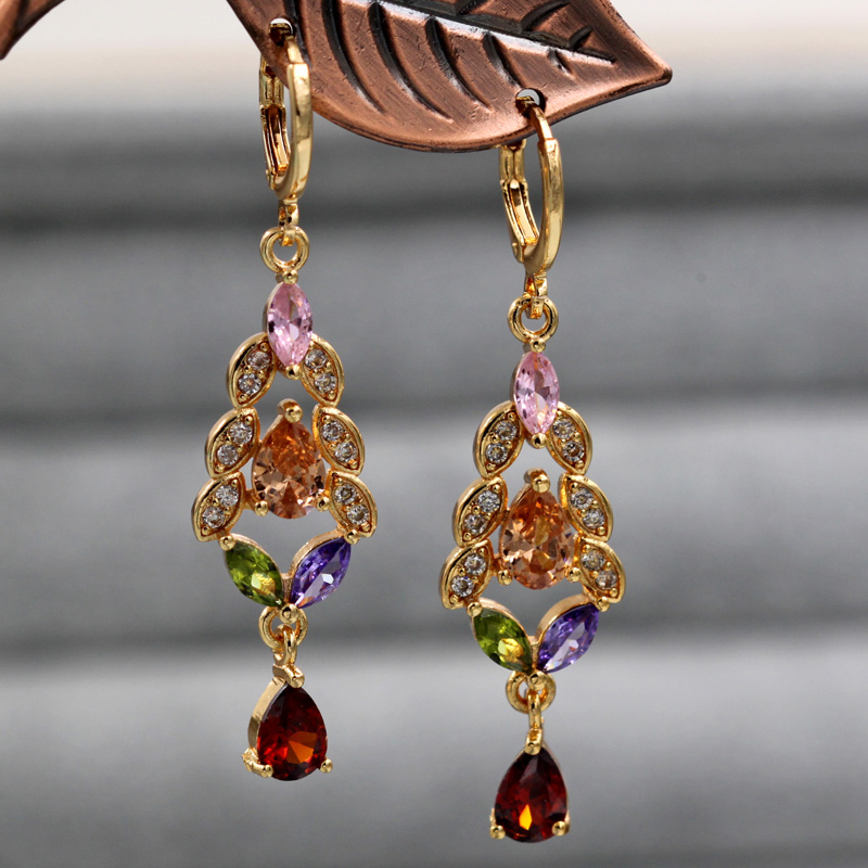 H713a8fd260fc44aabb356ba71d00142cy - Trendy Vintage Drop Earrings For Women Gold Filled  Red Green Pink Lavender Zircon Earrings Gold  Earring Wedding  Jewelry