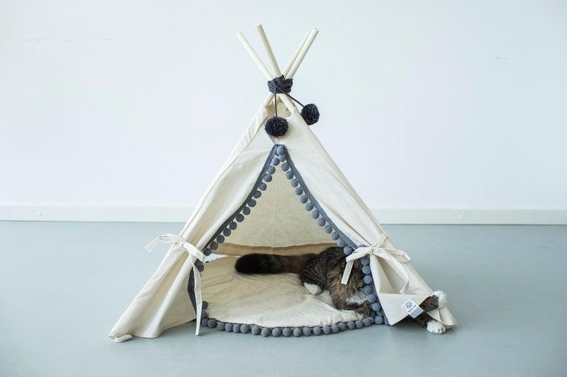Natural Canvas Pompoms Dog Teepee Pet Tent Pet Teepee Tent Dog Tipi Rabbit Teepee