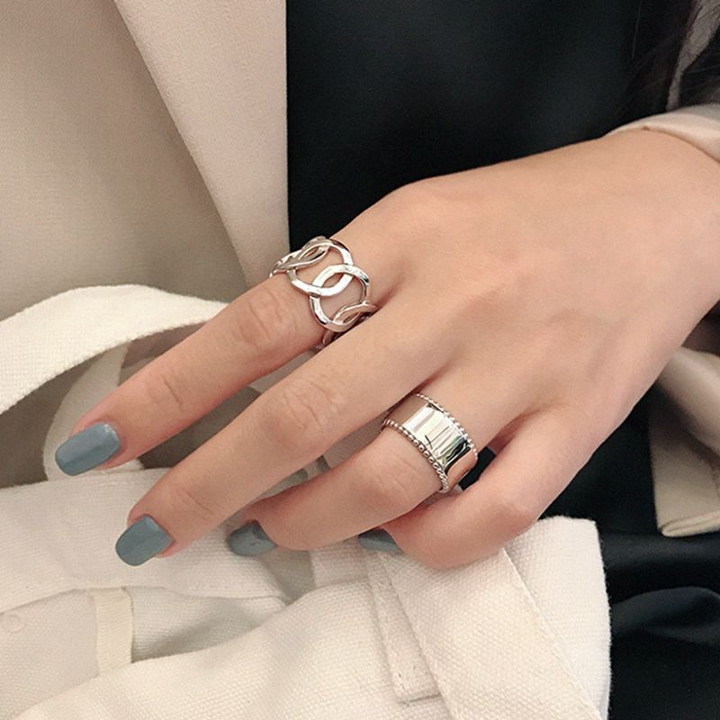 Silvology Chain Glossy Wide Rings 925 Sterling Silver Side Bead Openwork Chain Korea Simple Rings For Women High Quality Jewelry