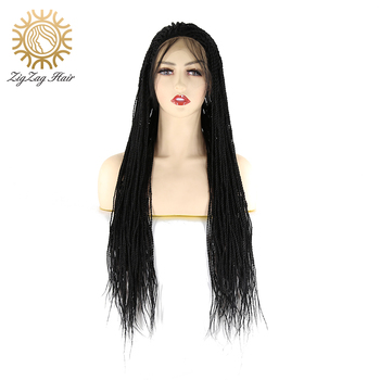 ZigZag Black Synthetic Lace Front Wig For Black Women Hair Braids Wigs with Baby Hair Heat Resistant Fiber Lace Front Braid Wig