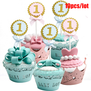 10pcs/lot Round Cake Toppers Baby 1 Year First Kids Party Decoration DIY Cupcake Topper Supplies topers de torta(China)