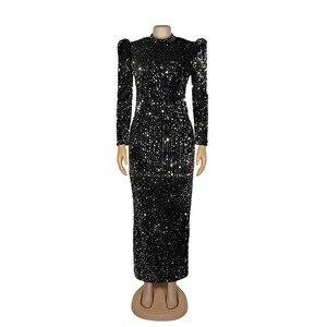 Image 4 - Vestido de fiesta de terciopelo con lentejuelas para mujer, ropa africana, manga abombada, ajustado, elástico, ceñido, elegante