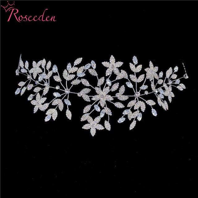 Fashion Cubic Zirconia Bridal Wedding Soft Headband Hairband Tiara CZ Bride Hair Jewelry Accessorie Hairpiece RE3533