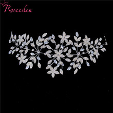 Fashion Cubic Zirconia Bridal Wedding Soft Headband Hairband Tiara Silver Gold CZ Bride Hair Jewelry Accessories HairpieceRE3533 недорого