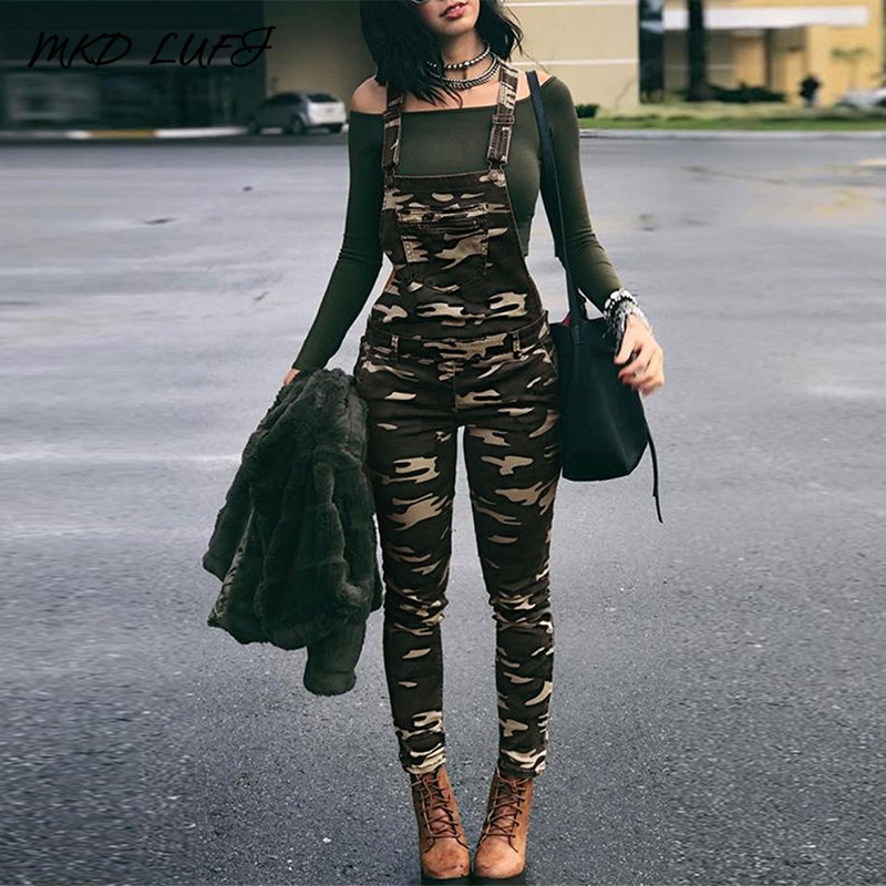 Stylish Camouflage Pocket Front Overalls Women Casual One Piece Jumpsuits Streetwear