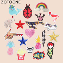 ZOTOONE Animal Unicorn Patches Flower Heart Flamingo Stickers Iron on Clothes Heat Transfer Applique Embroidered Cloth Fabric G