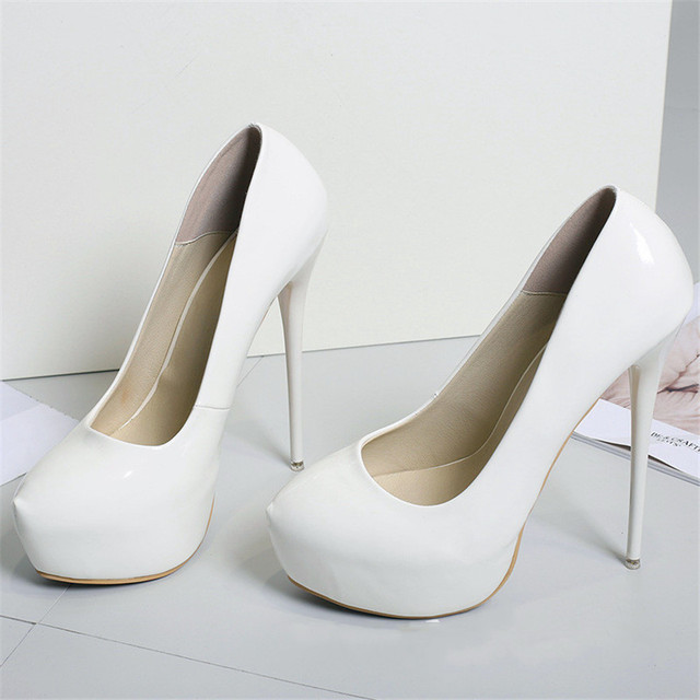 Big Size 41-47 Patent Leather Red Wedding Shoes 2020 Women Round Toe Super High Heels 16cm Pumps Sexy Platform Party Shoes Woman