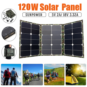 Folding Solar Panel 120W Double USB Waterproof Sun Power Solar Cells 18V/5V Charger Output Devices Portable for Smartphones