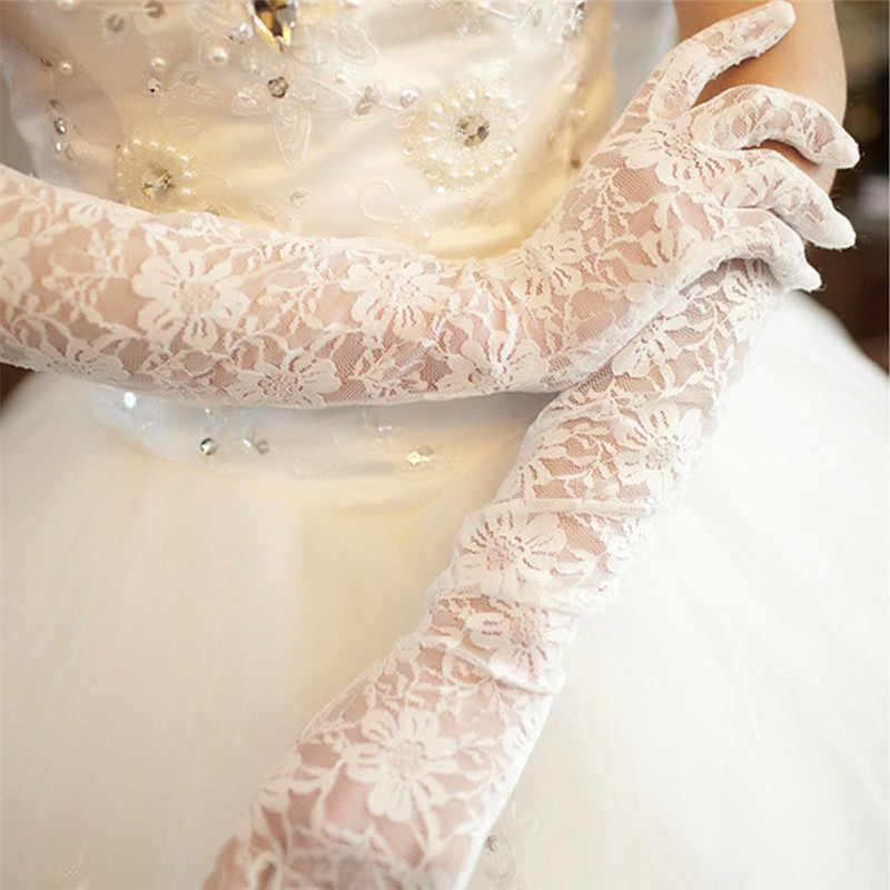 1 Pair Bianco Avorio Guanti Da Sposa per Le Donne Delle Ragazze di Lunghezza Del Gomito Dito Pieno Guanti di Pizzo Eleganti Guanti Da Sposa Accessori Da Sposa