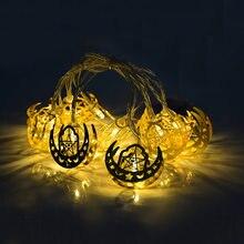 Eid Mubarak-guirnalda de luces Led de estrellas para decoración, Luna de Metal, Ramadán, Kareem, Festival islámico musulmán, decoración de fiesta, Hajj Mubarak