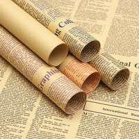 45pcs Gift Wrapping Paper Roll Vintage Newspaper Double Sided Wrap Decor Art Kraft For Christmas Party Creative Material C1474 m
