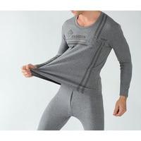 Autumn Winter Cotton O neck Warm Long Johns Set For Men Ultra Soft Solid Color Thick Thermal Underwear Men's Pajamas Plus size