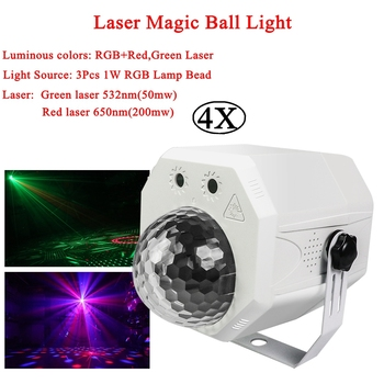 4Pcs/Lot RGB LED Crystal Disco Magic Ball With Patterns Laser Projector DJ KTV Party Holiday Bar Christmas Stage Lighting Effect