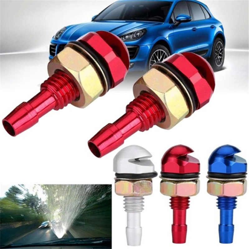 2pcs Universal Aluminum Alloy Car Auto Front Windshield Sprayer Washer Nozzle Red Color