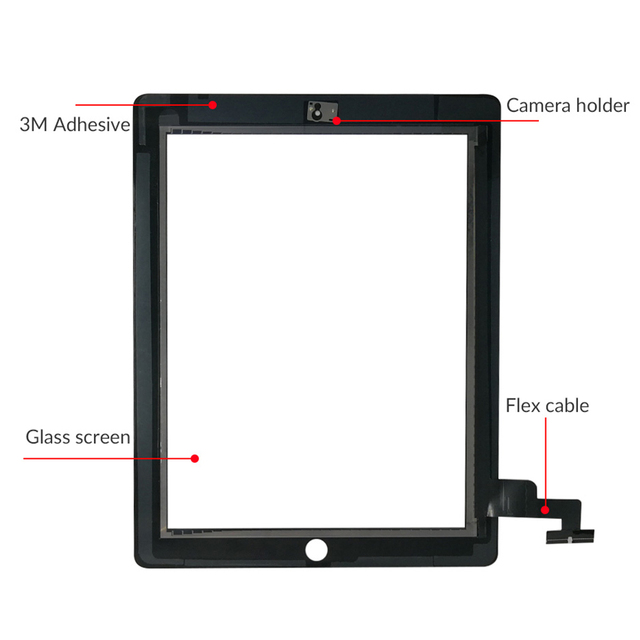 """9.7"""" Touch Screen For iPad 2 A1395 A1396 A1397 Touch Panel LCD Outer Display Replacement Digitizer Sensor Glass 3"""