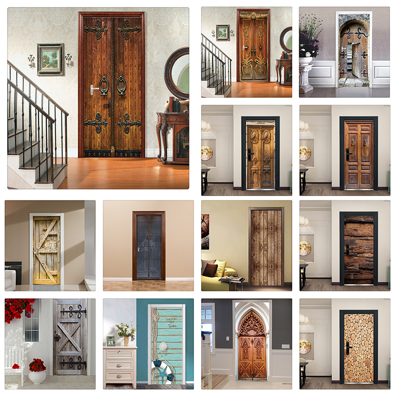 Creative 3D Door Sticker Home Decor Design Retro Wood Wallpaper Sticker For Door Self Adhesive Removable Mural For Sleeping Room