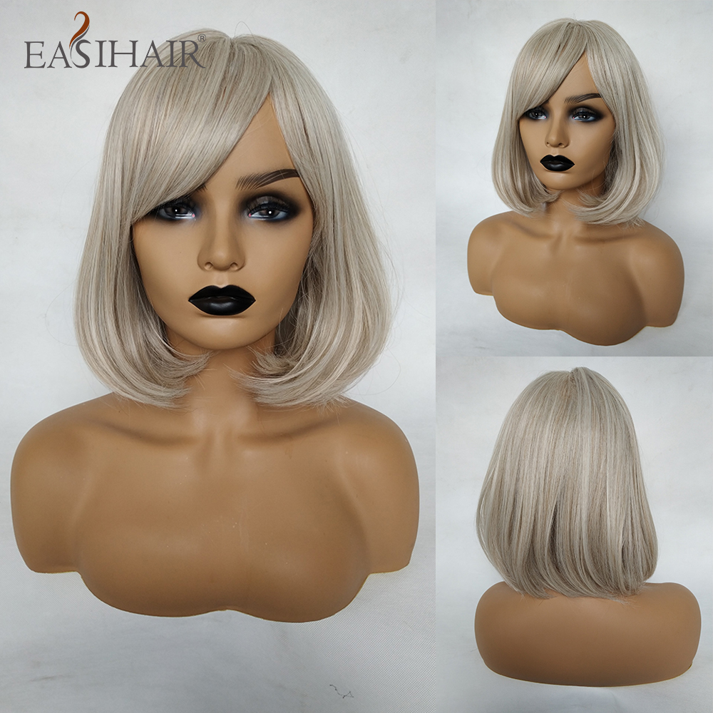 EASIHAIR Beige Straight Bob Synthetic Wigs With Bangs For Women Medium Length Hair Bob Wig Wavy Cosplay Wigs Heat Resistant