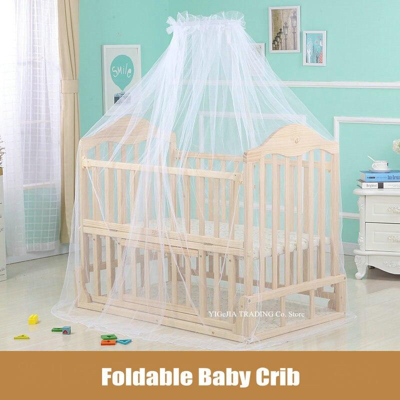 Складная детская кровать, 105*64*90 см, детская кроватка из натурального дерева, может соединяться со взрослой кроваткой, может быть заменена