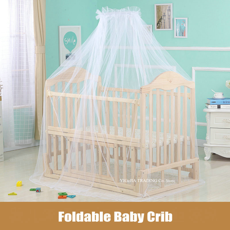 Foldable Baby Bed, 105*64*90cm, Natural Wood Infant Crib, Can Joint With Adult Bed, Can Change To Rocking Cradle