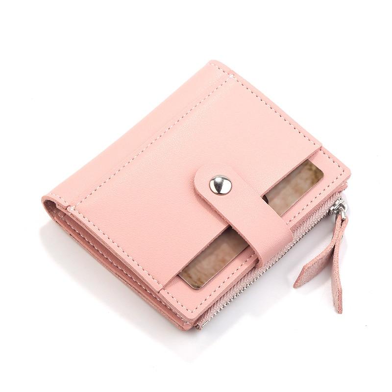 Роскошные Брендовые женские кошельки, длинный модный кошелек из искусственной кожи с застежкой, Женский кошелек, клатч, женский кошелек, кошелек для монет - Цвет: Short-Pink