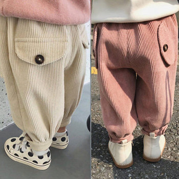 Pantalones de pana para niños, ropa de primavera Otoño, Harem