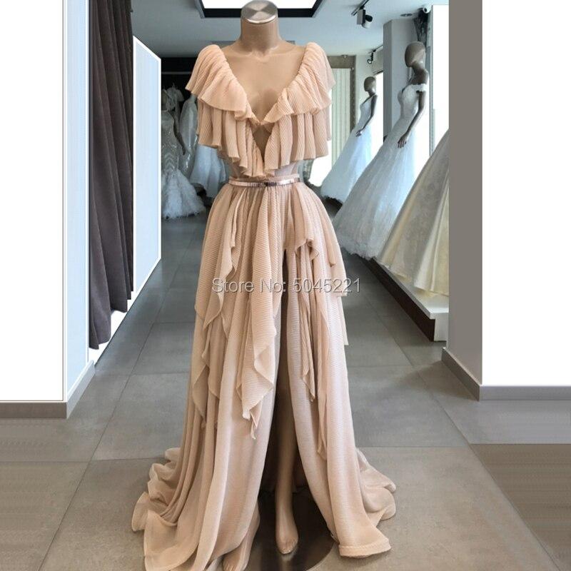Élégant à plusieurs niveaux col en V robes De soirée nouveau Dubai Design longue Robe De bal avec ceinture pour saoudien arabe Robe De soirée 2019 caftans