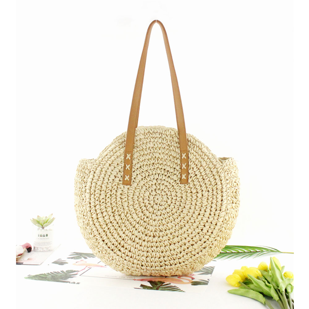 Women Summer Round Straw Shoulder Bags Rattan Bag HandWoven Beach Crossbody