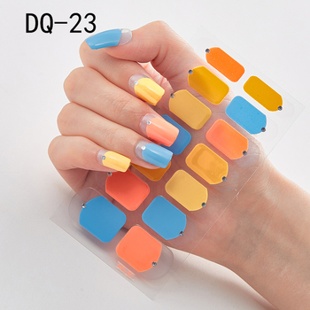 14pcs/sheet Glitter Gradient Color Nail Stickers Nail Wraps Full Cover Nail Polish Sticker DIY Self-Adhesive Nail Art Decoration 94