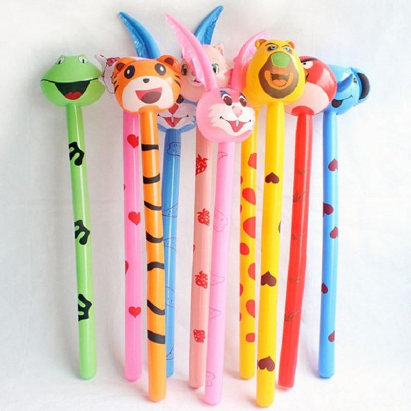 1piece Random Color Cartoon Hammer Weapon Baby PVC Inflatable Toy Animal Wooden Club Cartoon Long Toy Children Play Wholesale